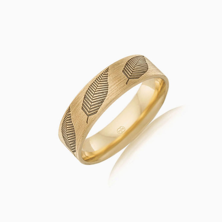 Leaf Pattern mens wedding ring FR3999
