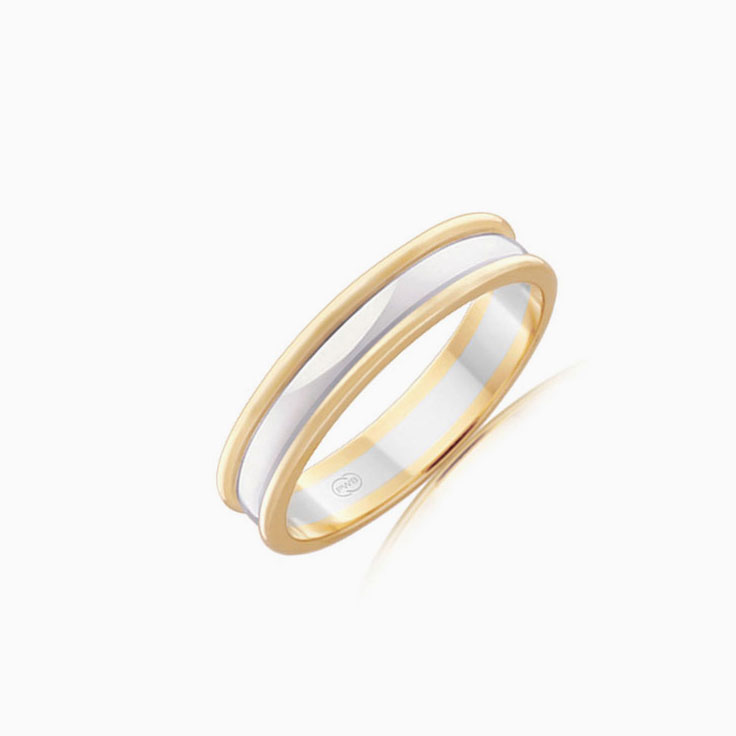 Two tone mens wedding ring 2T1132