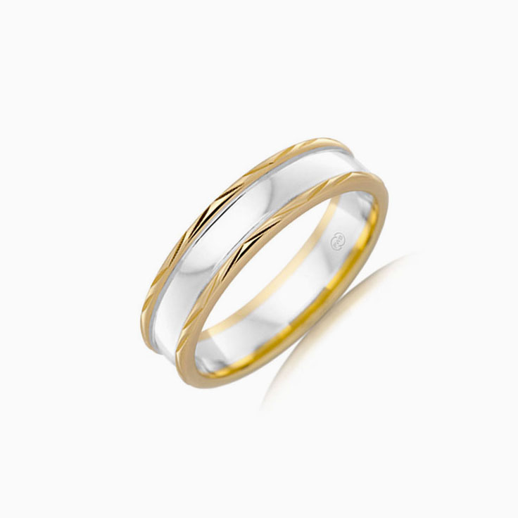Two tone mens wedding ring 2T1331