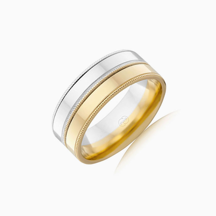 Two Tone Mens Wedding Ring 2T1364