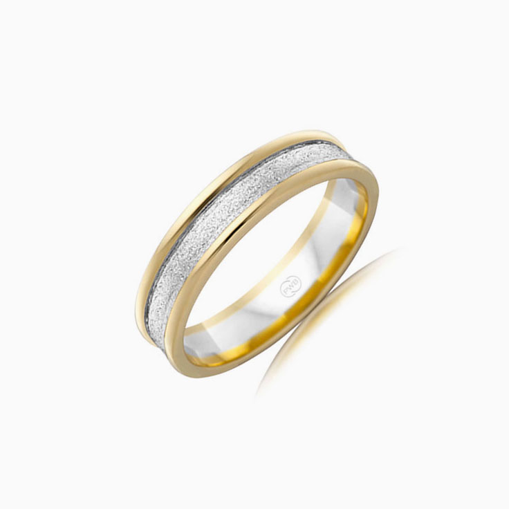 Two tone Mens wedding ring 2T2564