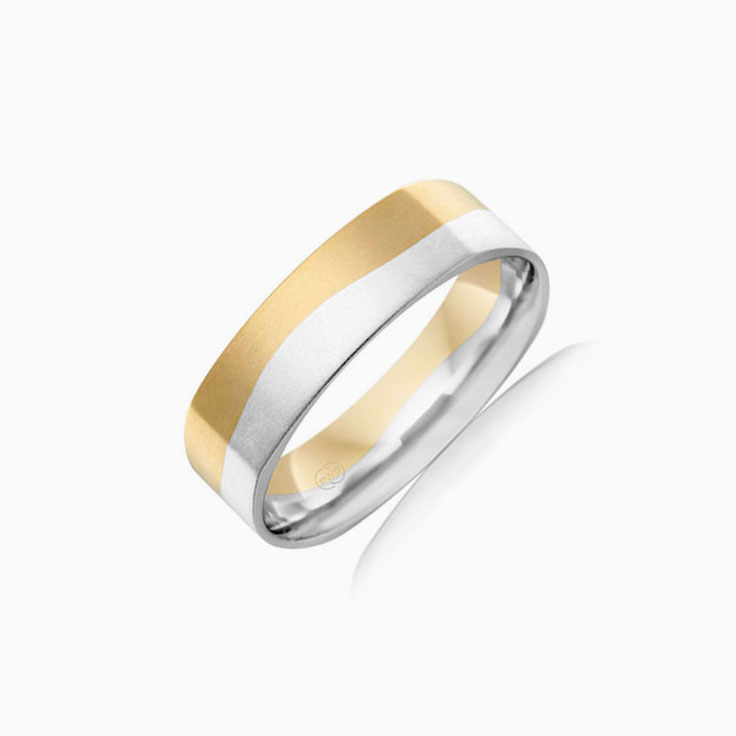 Two tone mens wedding band 2T2972