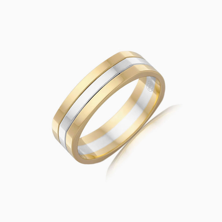 Two Tone Grooved Mens Ring 2T2979