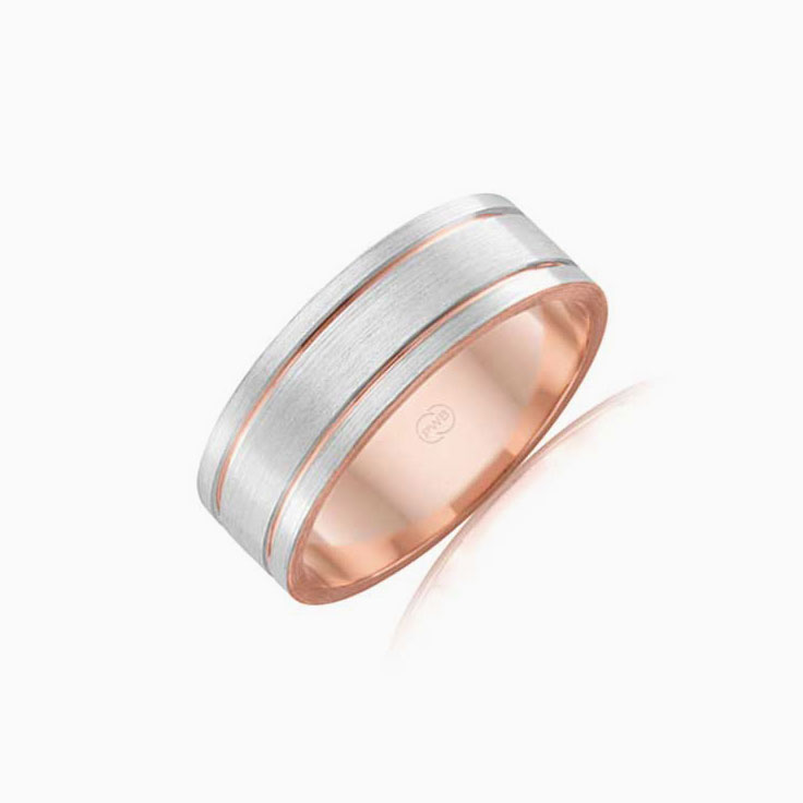 Double groove mens ring 2T3640