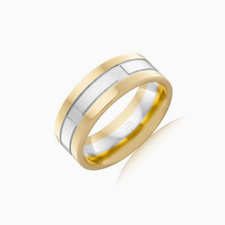 Two Tone mens wedding ring 2T3690