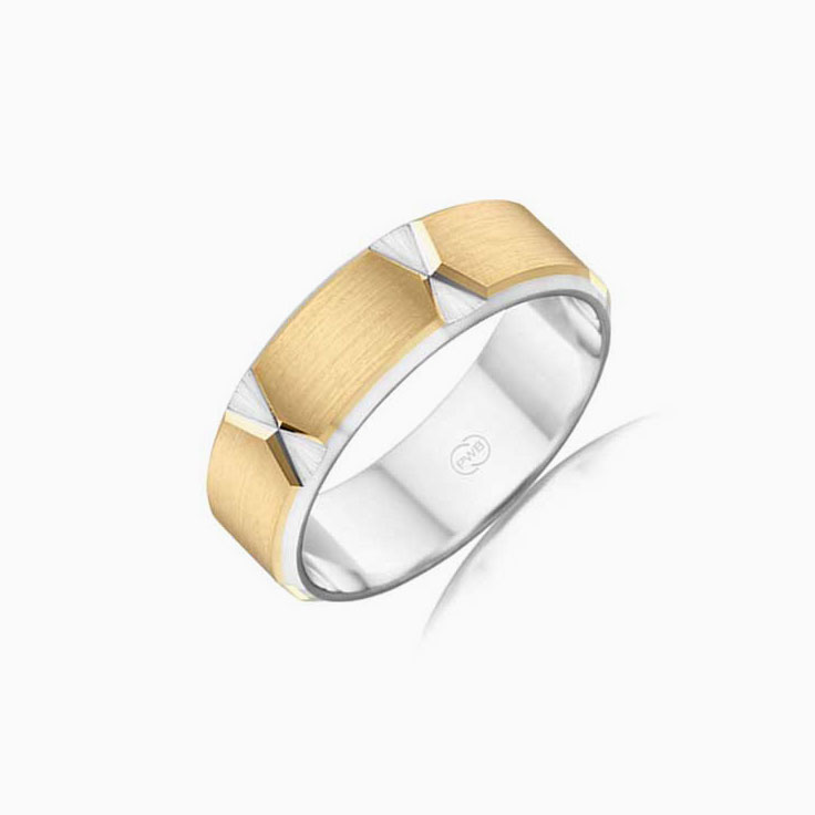 Two tone patterned ring 2T3733