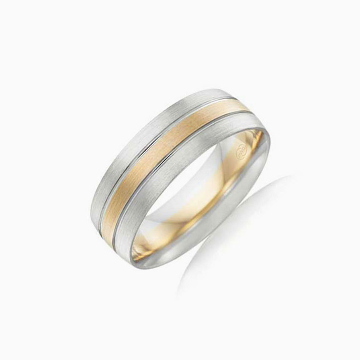 Two tone mens wedding ring 2T3872