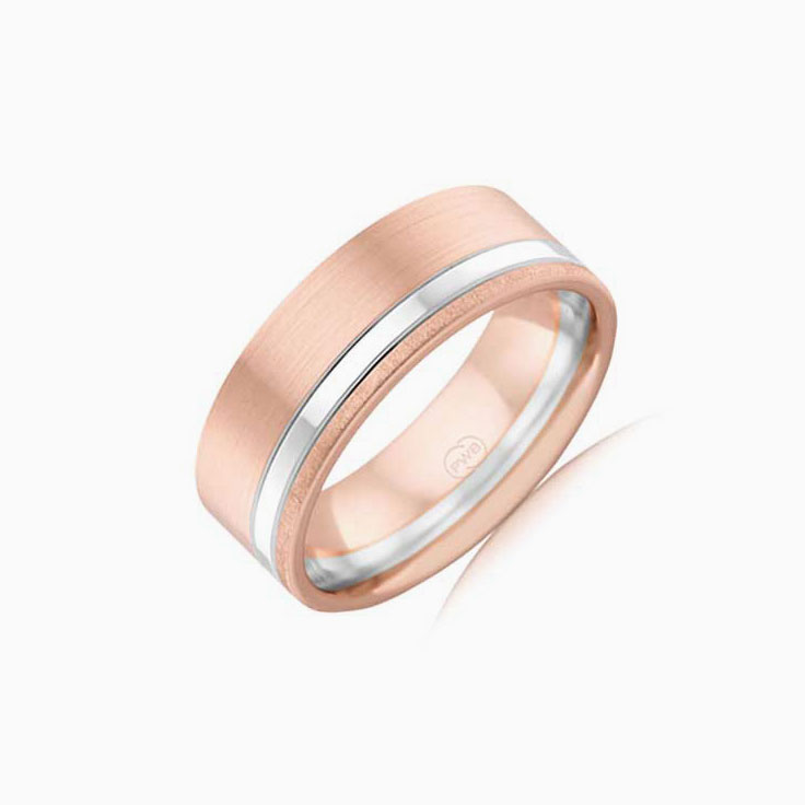 Two tone Mens wedding ring 2T3925
