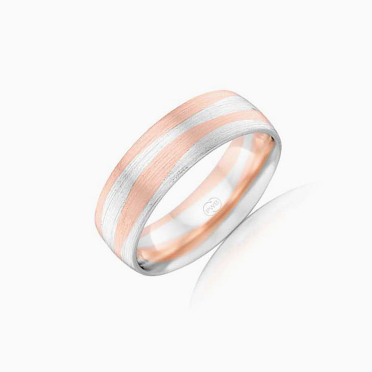 Two tone mens wedding ring 2T4135