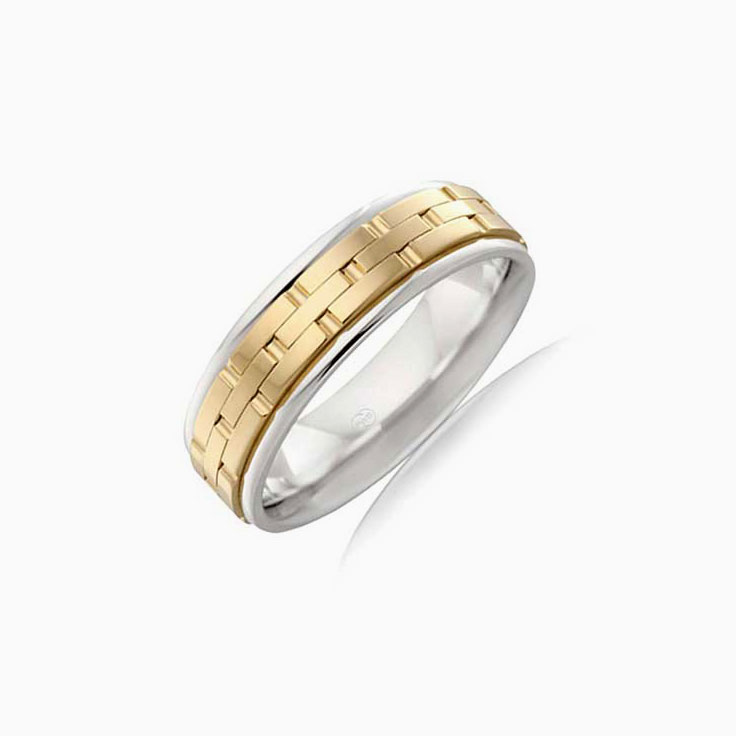 Brick Pattern mens wedding ring  2TJ2724