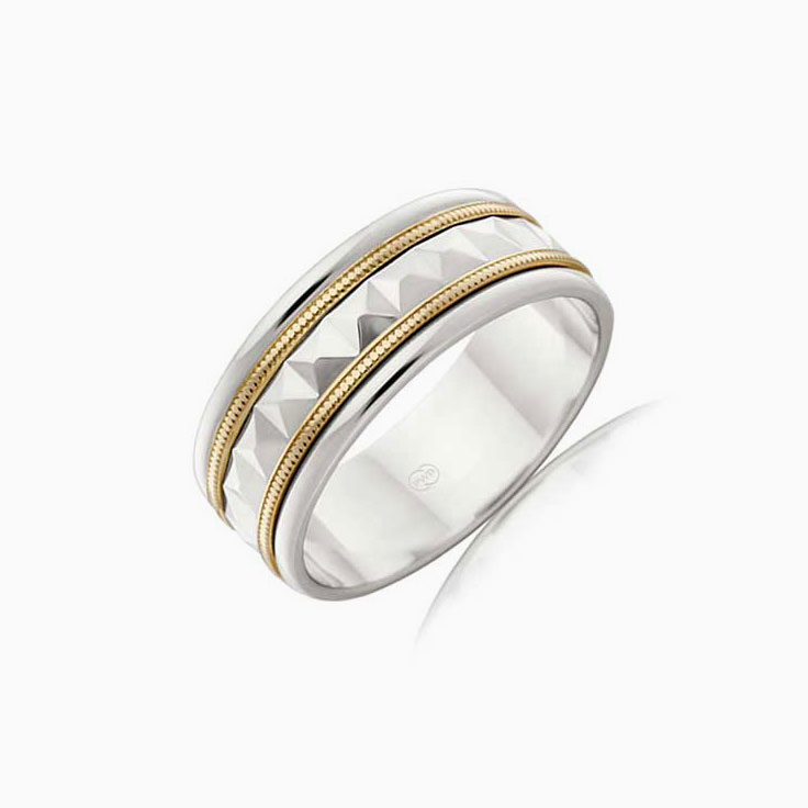 Patterned two tone mens ring 2TJ2107