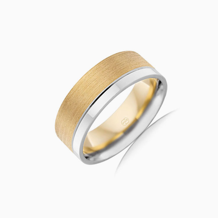 Two tone mens Wedding ring 2T3474