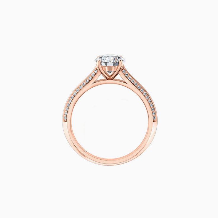 Round Brilliant Cut enagagement ring On A Knife Edge diamond band