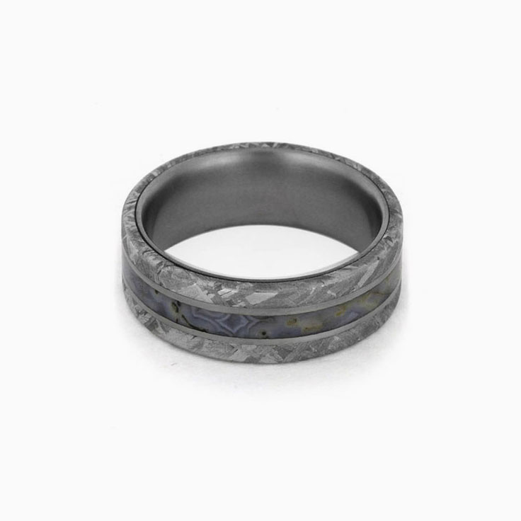 Dinosaur Bone Ring With Meteorite Edges