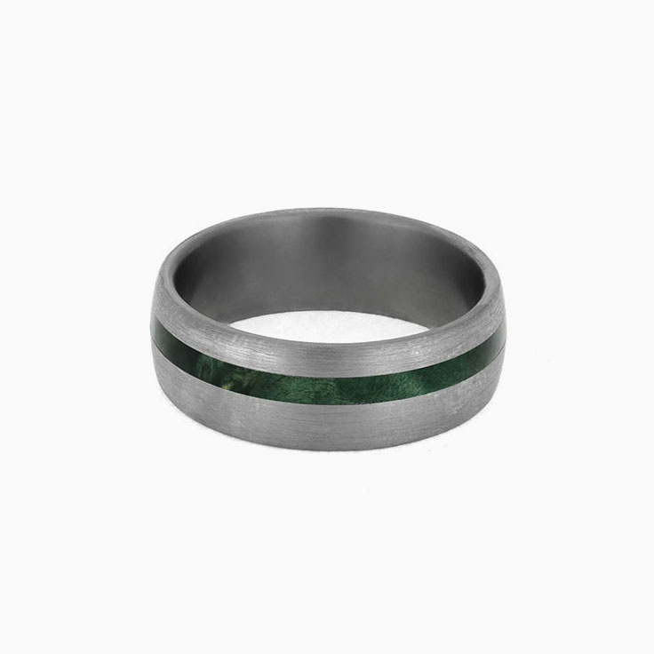 Green Box Ring With Brushed Titanium