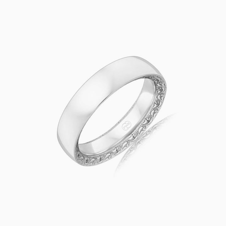 Side carved wedding ring OR3824